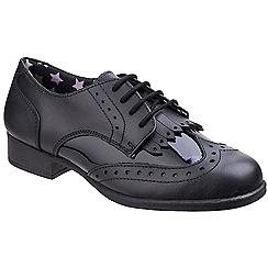 Hush Puppies - Black leather 'Katherine' block heel brogues