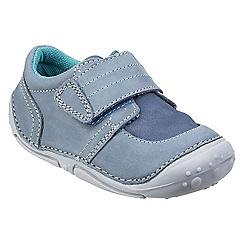 Hush Puppies - Blue leather 'Leo' touch fasten trainers