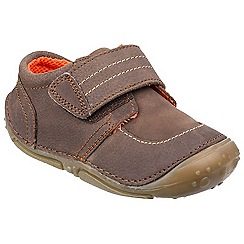 Hush Puppies - Brown leather 'Leo' touch fastening trainers