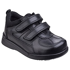Hush Puppies - Black leather 'Liam' touch fastening shoes