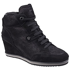 Geox - Near black leather 'Illusion' wedge casual trainers
