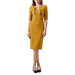 Hobbs - Mustard 'Eimear' ottoman dress