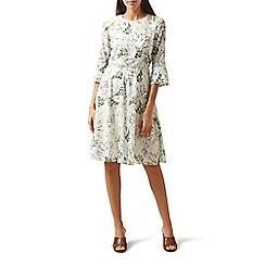 Hobbs - Cream floral print 'Virginia' knee length dress