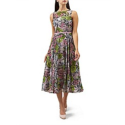 Hobbs - Multicoloured floral print chiffon 'Georgie' midi tea dress
