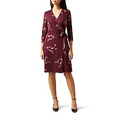 Hobbs - Red floral print jersey 'Sally' knee length wrap dress