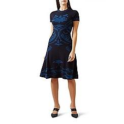 Hobbs - Blue pure wool 'Eliza' knee length dress