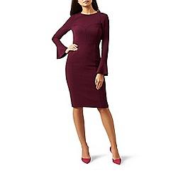 Hobbs - Red long sleeves 'Ruth' pencil dress