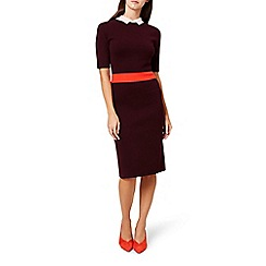 Hobbs - Red 'Christie' high neck knee length pencil dress