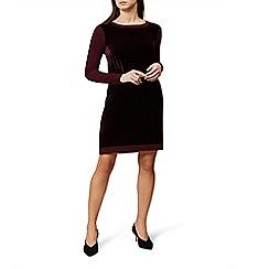 Hobbs - Red velvet 'Benita' long sleeves jumper dress