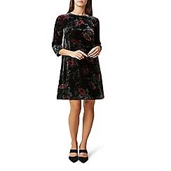 Hobbs - Black floral velvet 'Agnes' knee length shift dress