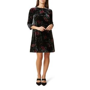 Hobbs Black floral velvet 'Agnes' knee length shift dress