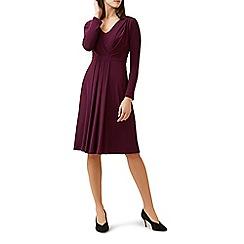 Hobbs - Red v-neck 'Berry' long sleeve knee length dress