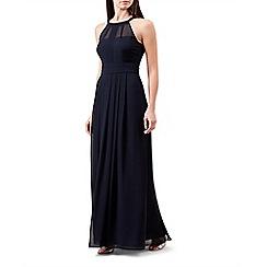 Hobbs - Blue chiffon halterneck 'Alexis' full length bridesmaid dress