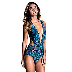 Oh My Love - Dark palm print plunge front swimsuit