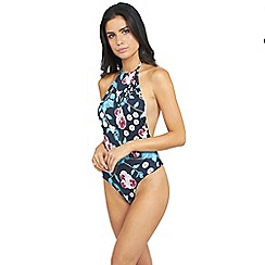 Oh My Love - High neck dark floral print swimsuit