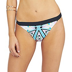 Oh My Love - Mirrored aztec print deep tanga brief with contrast waist band detail