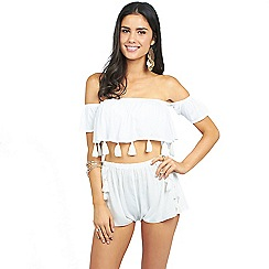 Oh My Love - White bardot tassel edge beach top and short co-ord set