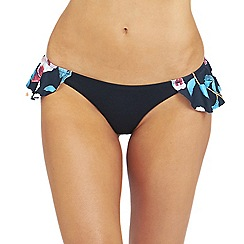 Oh My Love - Frill side detail dark floral bikini brief