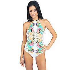 Oh My Love - Mirrored tropical print high neck swimsuit
