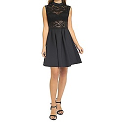 Oh My Love - Black lace body dress with structured skirt