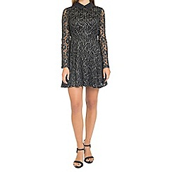 Oh My Love - Black lace skater dress with collar