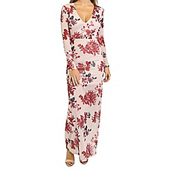 Oh My Love - Oriental print plunge front maxi dress
