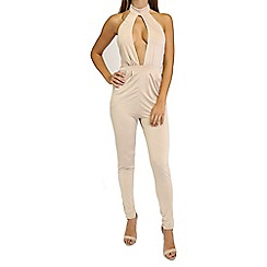 Oh My Love - Beige halter neck jumpsuit