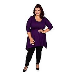 Scarlett & Jo - Purple plus size jersey hanky hem top tunic
