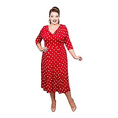 Scarlett & Jo - Red viscose midi length plus size fit and flare dress