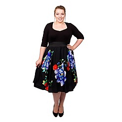 Scarlett & Jo - Black plus size blue floral 2-in-1 midi dress