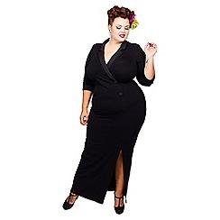 Scarlett & Jo - Black plus size tuxedo maxi dress
