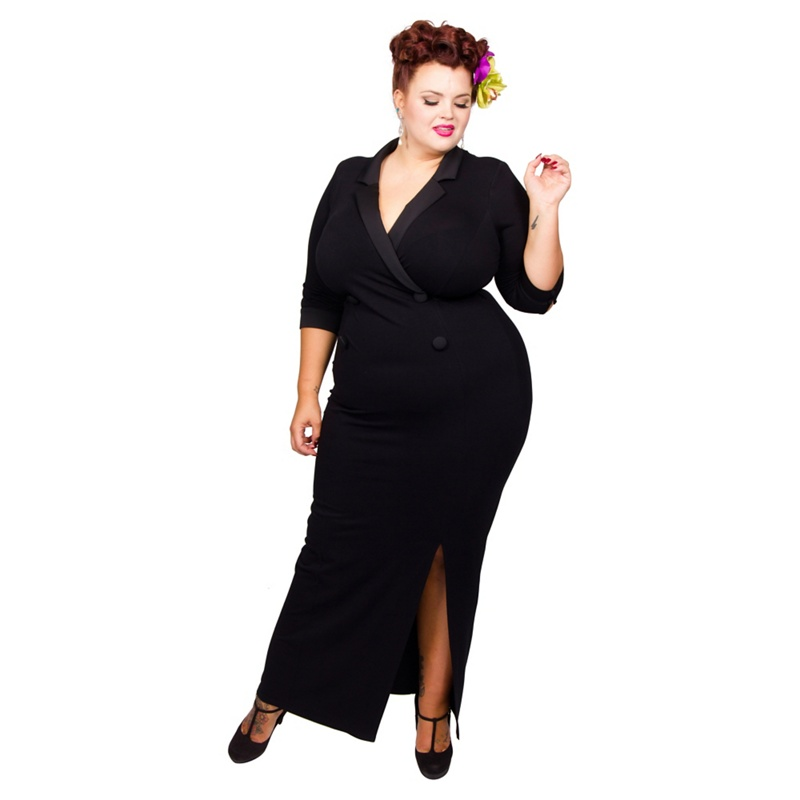 Scarlett & Jo Black Plus Size Tuxedo Maxi Dress, Women's, Size: 22, Evening dresses.