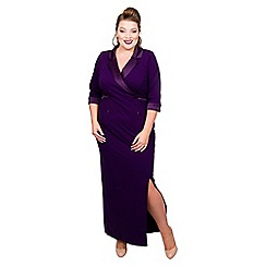 Scarlett & Jo - Dark purple jersey full length plus size maxi dress