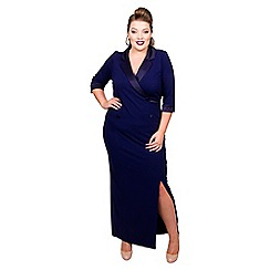 Scarlett & Jo - Mid blue jersey full length plus size maxi dress