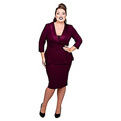 Scarlett & Jo - Maroon jersey crepe midi length plus size peplum dress