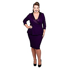 Scarlett & Jo - Dark purple jersey crepe midi length plus size peplum dress