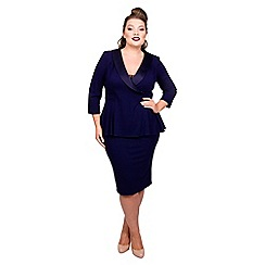 Scarlett & Jo - Mid blue jersey crepe midi length plus size peplum dress