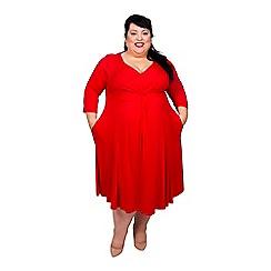 Scarlett & Jo - Red viscose midi length plus size jersey dress