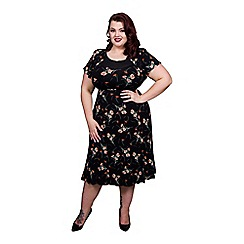 Scarlett & Jo - Black plus size floral 40's midi dress