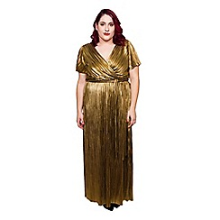 Scarlett & Jo - Gold plus size wrap maxi dress