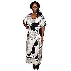 Scarlett & Jo - Cream kimono plus size maxi dress