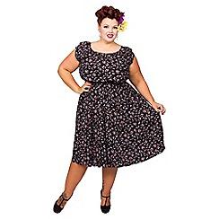 Scarlett & Jo - Black plus size drop shoulder midi dress
