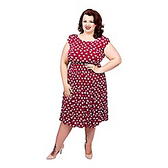 Scarlett & Jo - Burgundy plus size heart print midi dress
