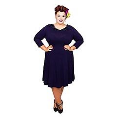Scarlett & Jo - Navy plus size petal trim dress