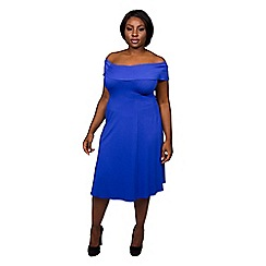 Scarlett & Jo - Cobalt plus size hug shoulder dress