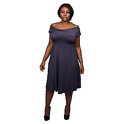 Scarlett & Jo - Grey plus size hug shoulder dress