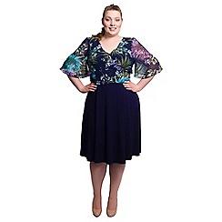 Scarlett & Jo - Navy fit and flare plus size midi dress
