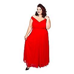 Scarlett & Jo - Red plus size off shoulder wrap gown