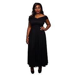Scarlett & Jo - Black plus size wrap maxi dress