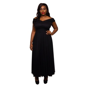 Scarlett & Jo Black Plus Size Wrap Maxi Dress